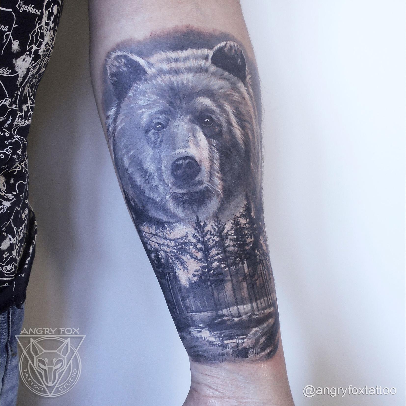 татуировка, тату, рука, предплечье, мужчина, реализм, лес, медведь, река