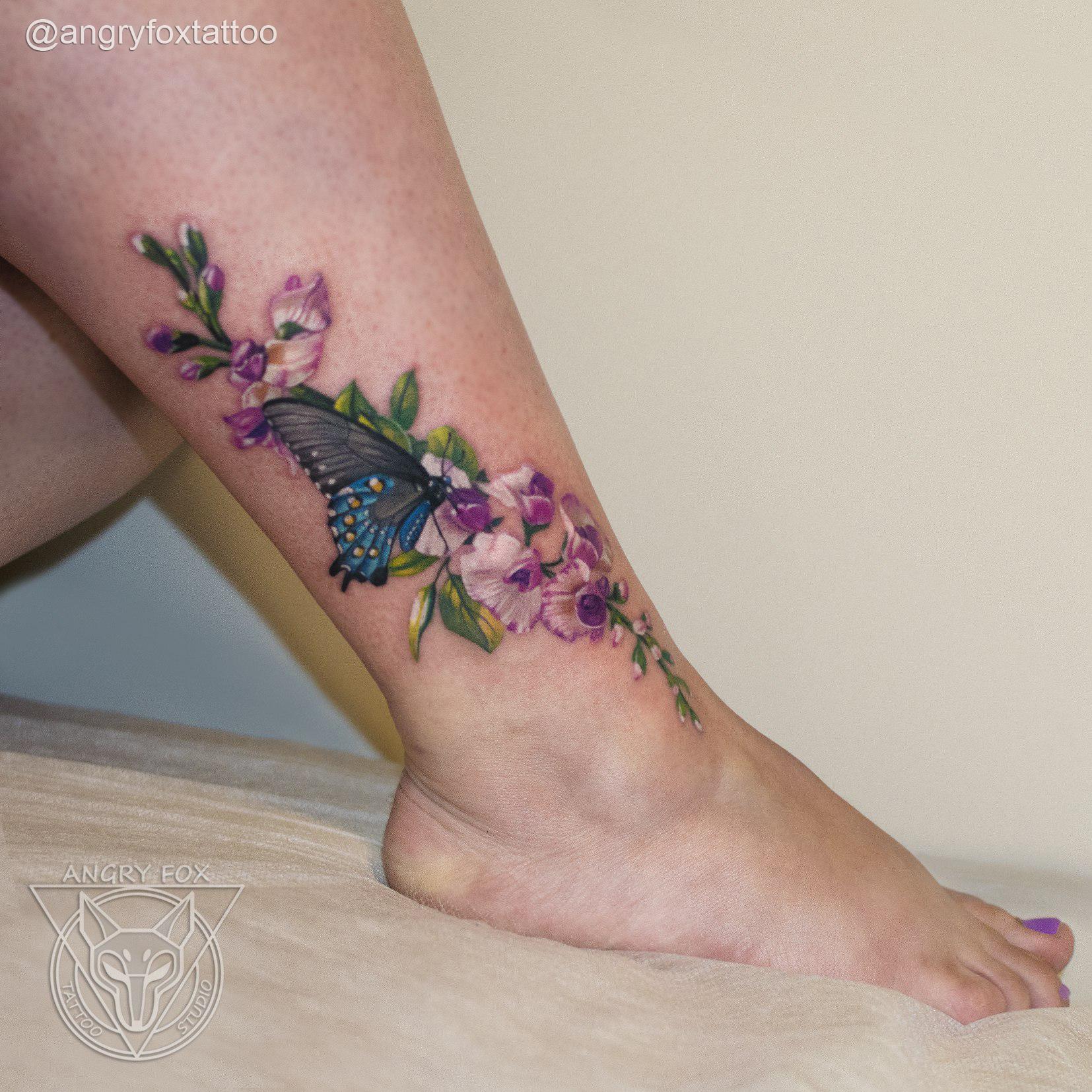 татуировка, тату, нога, стопа, ступня, цветы, бабочка, листья, девушка
