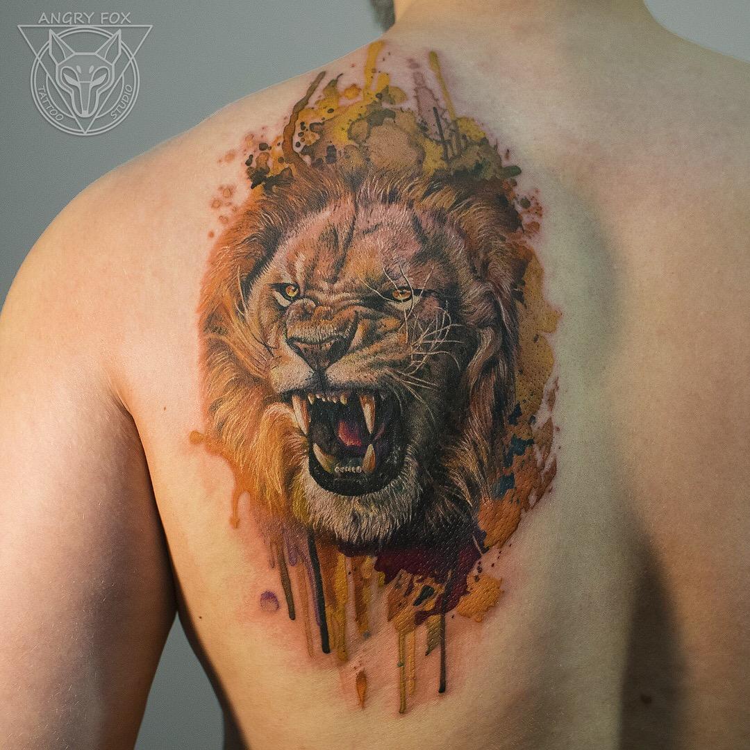 татуировка, тату, мужчина, спина, лев, акварель, грива, реализм
