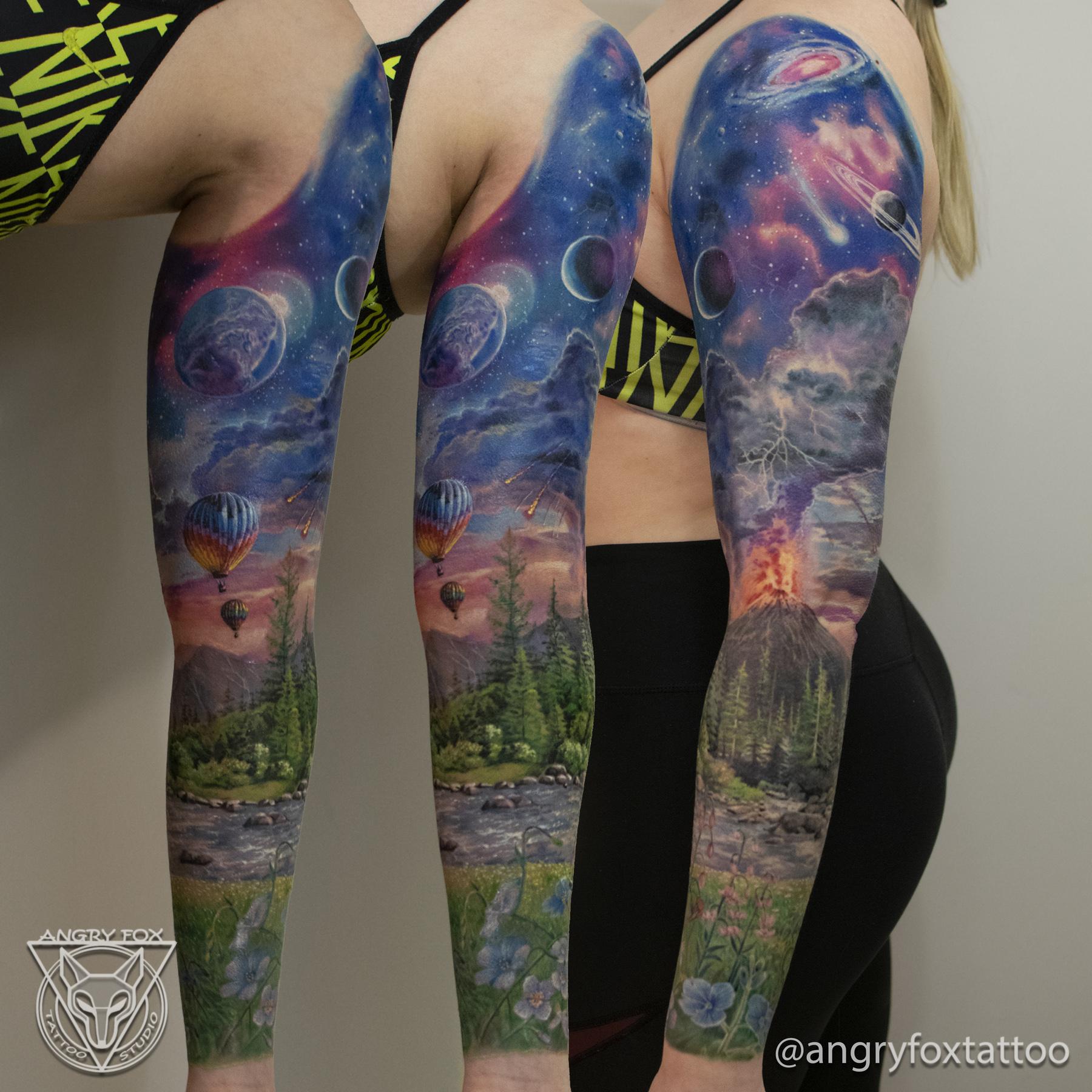 Татуировка, тату, девушка, рукав, рука, плечо, предплечье, поле, цветы, река, вулкан, лава, гроза, космос, метеорит, галактика, воздушный, шар, лес, горы, реализм