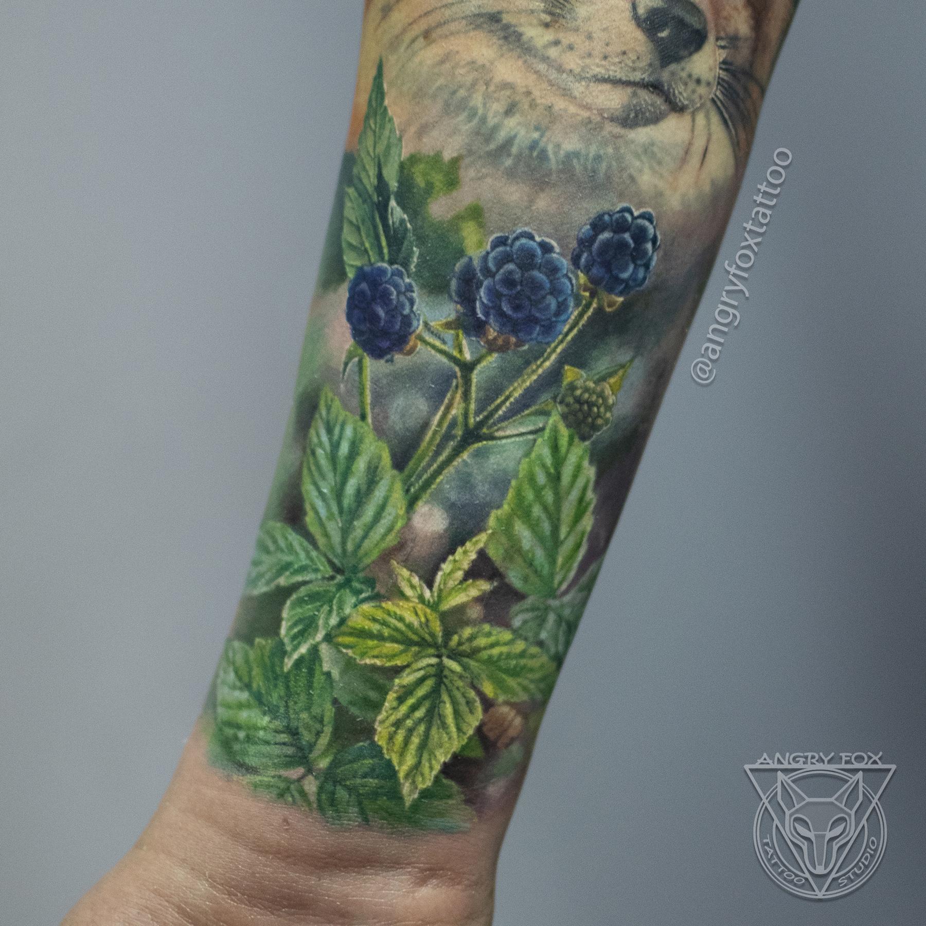 Татуировка, тату, рука, предплечье, листья, ягоды, ежевика, лиса, реализм