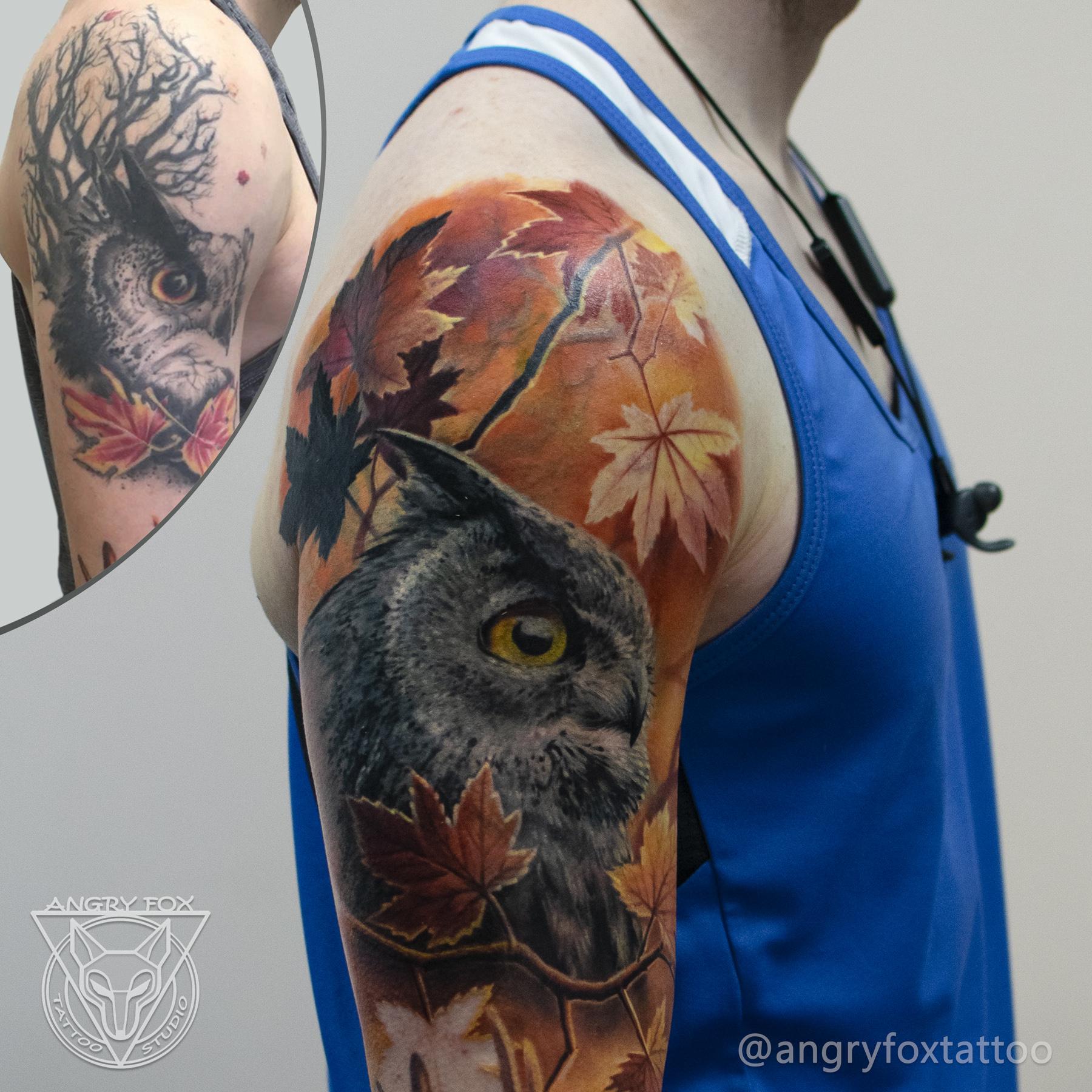 татуировка, тату, каверап, коррекция, плечо, рука, мужчина, клен, листья, реализм, филин, сова, сыч