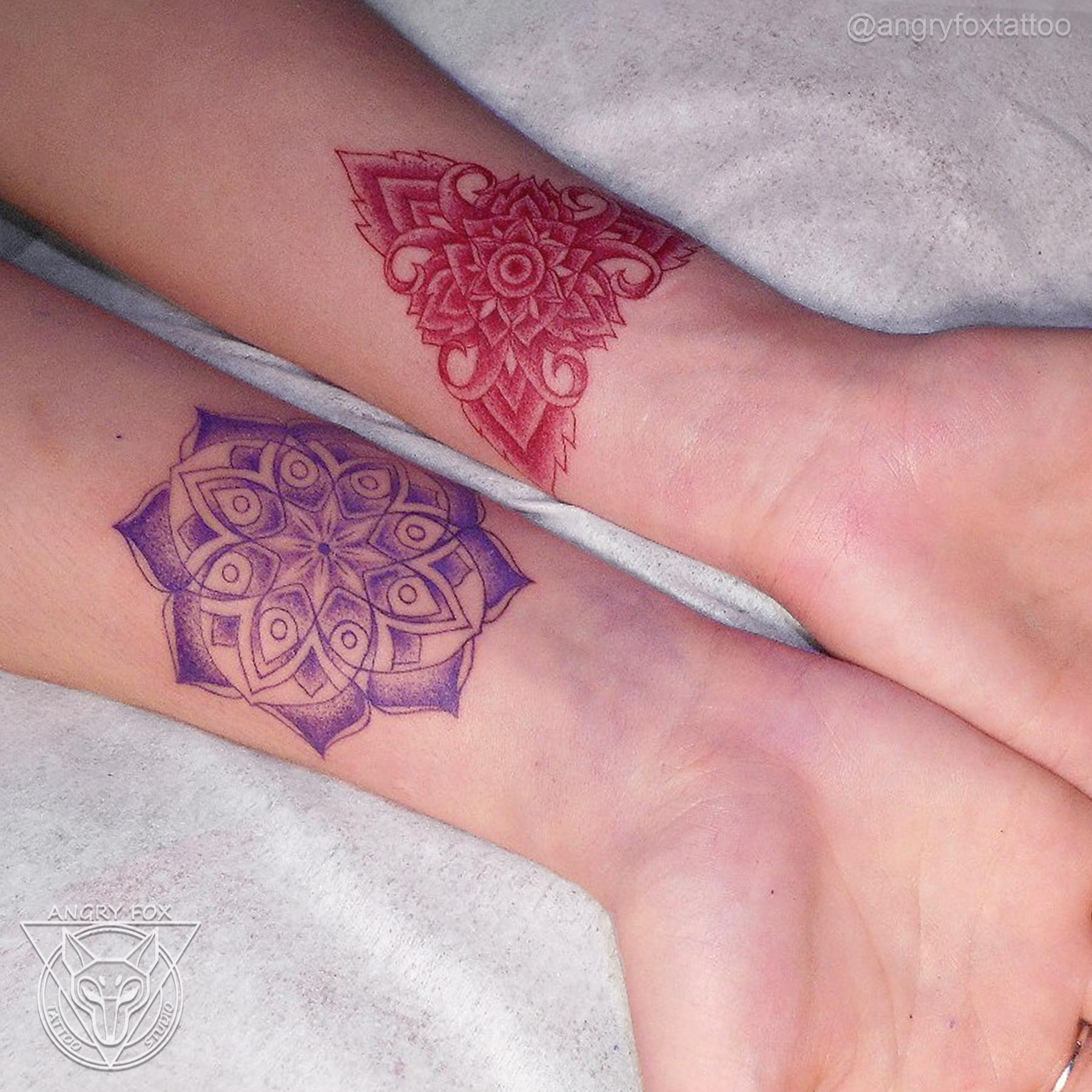 татуировка, тату, графика, контур, орнамент, рука, предплечье, запястье, девушка
