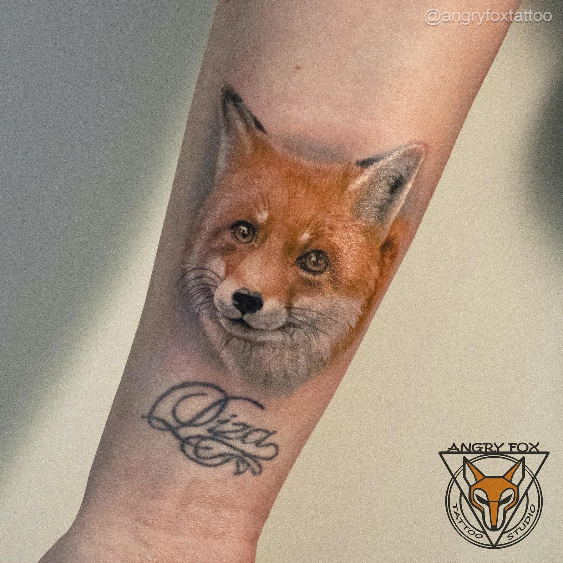 татуировка, тату, рука, предплечье, лиса, надпись, реализм, графика