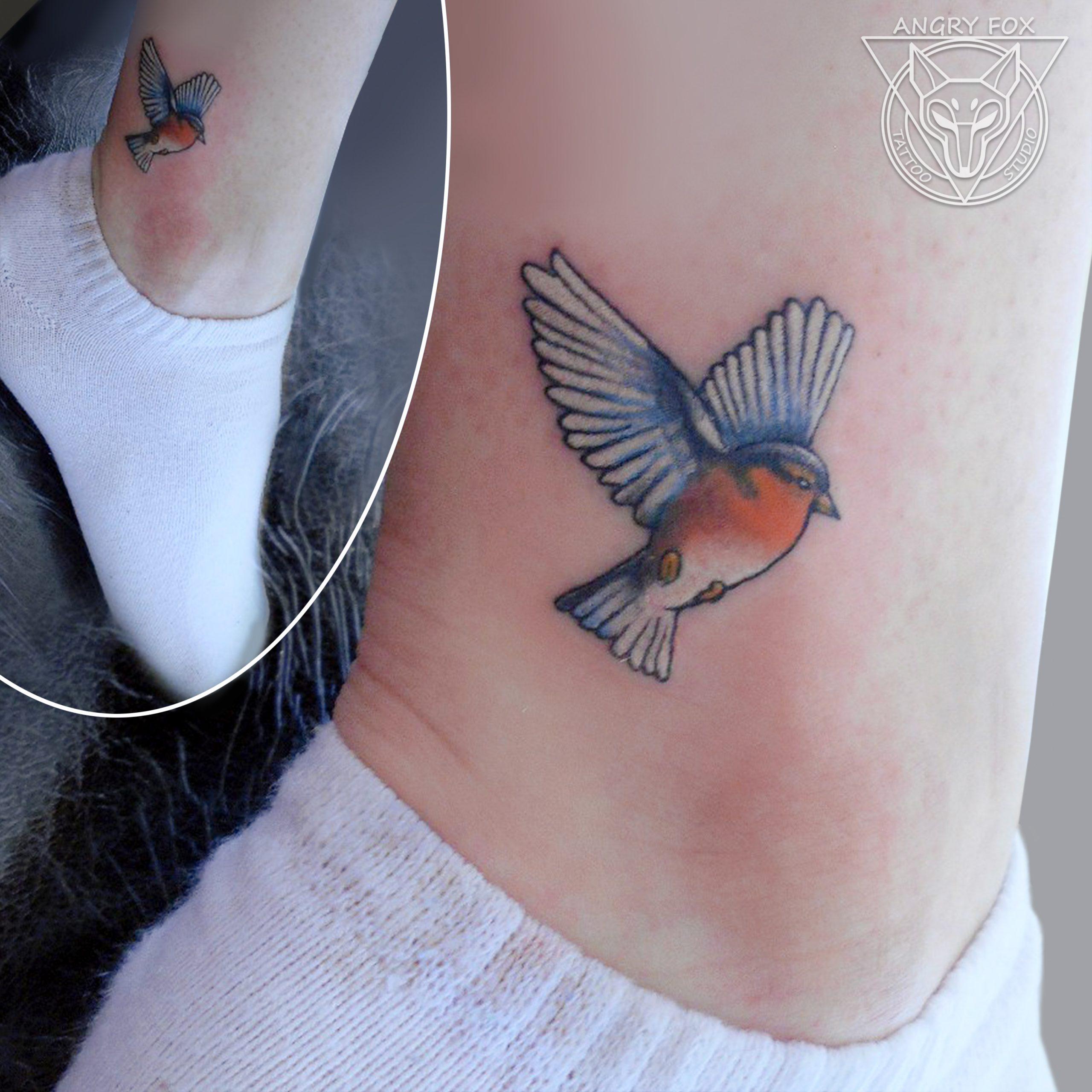 Татуировка, тату, цветная, голень, щиколотка, птица, контур, миниатюра, мини, снегирь