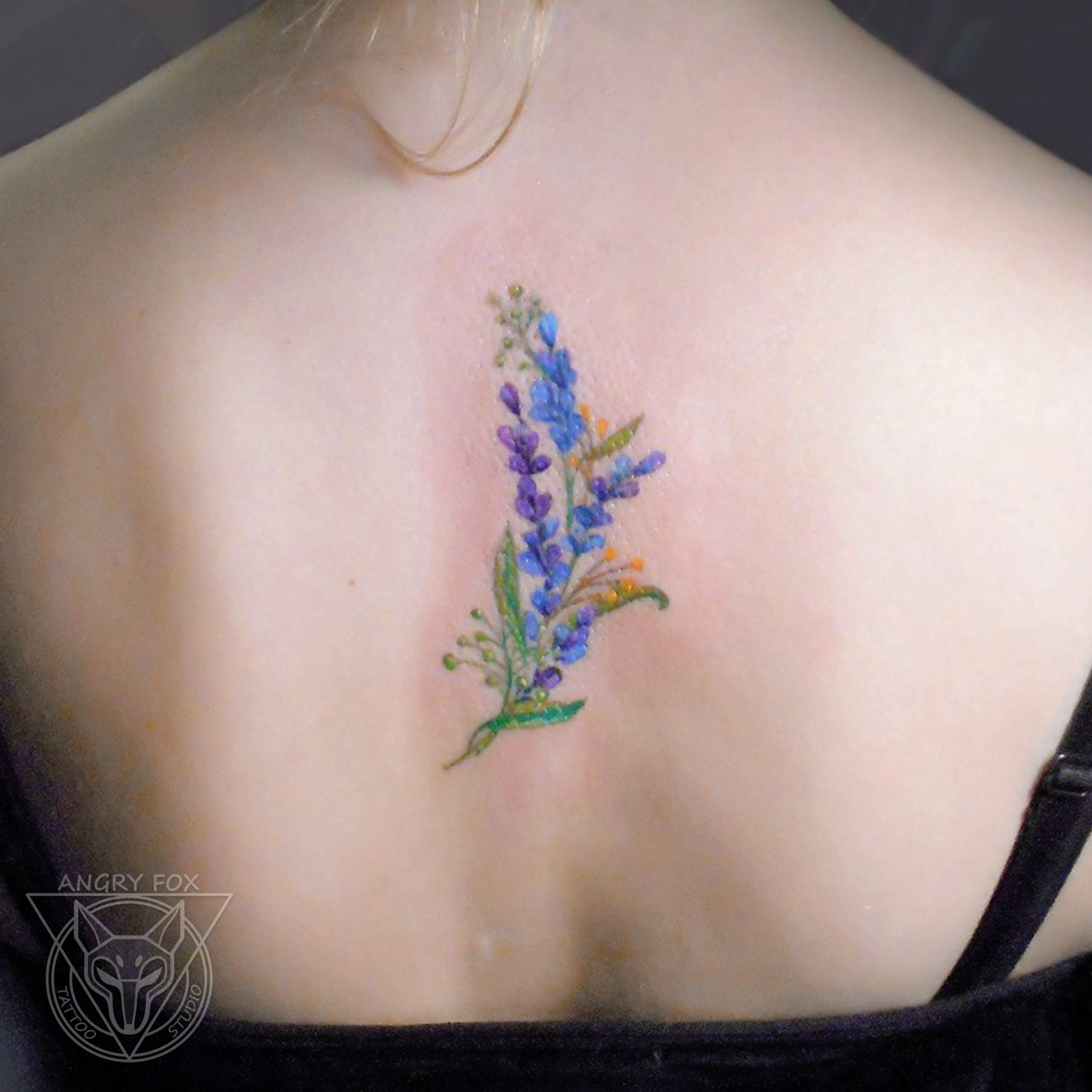 Татуировка, тату, цветная, спина, позвоночник, цветы, акварель, миниатюра, мини