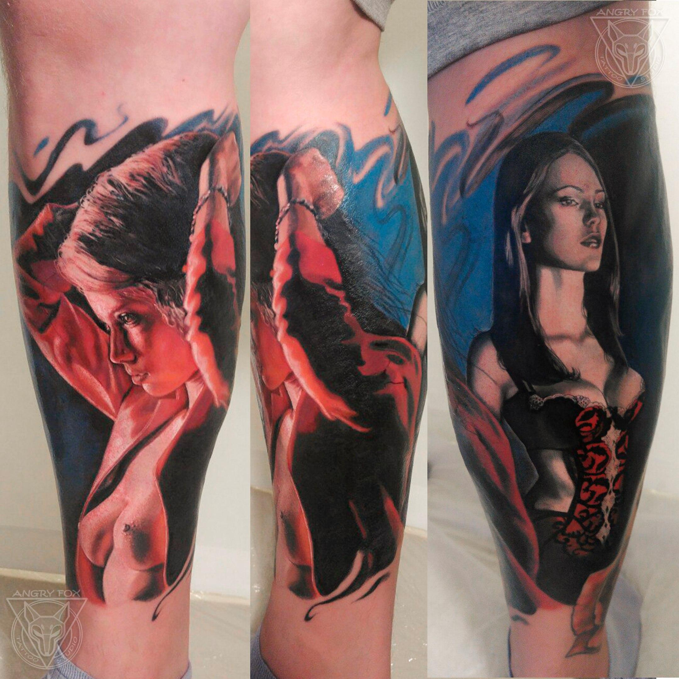 Татуировка, тату, цветная, портрет, грудь, ню, девушка, красный, пиджак, корсет, нога, голень, реализм
