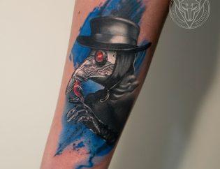 Татуировка, тату, рука, предплечье, чумной, доктор, птица, маска, шляпа, трэшполька