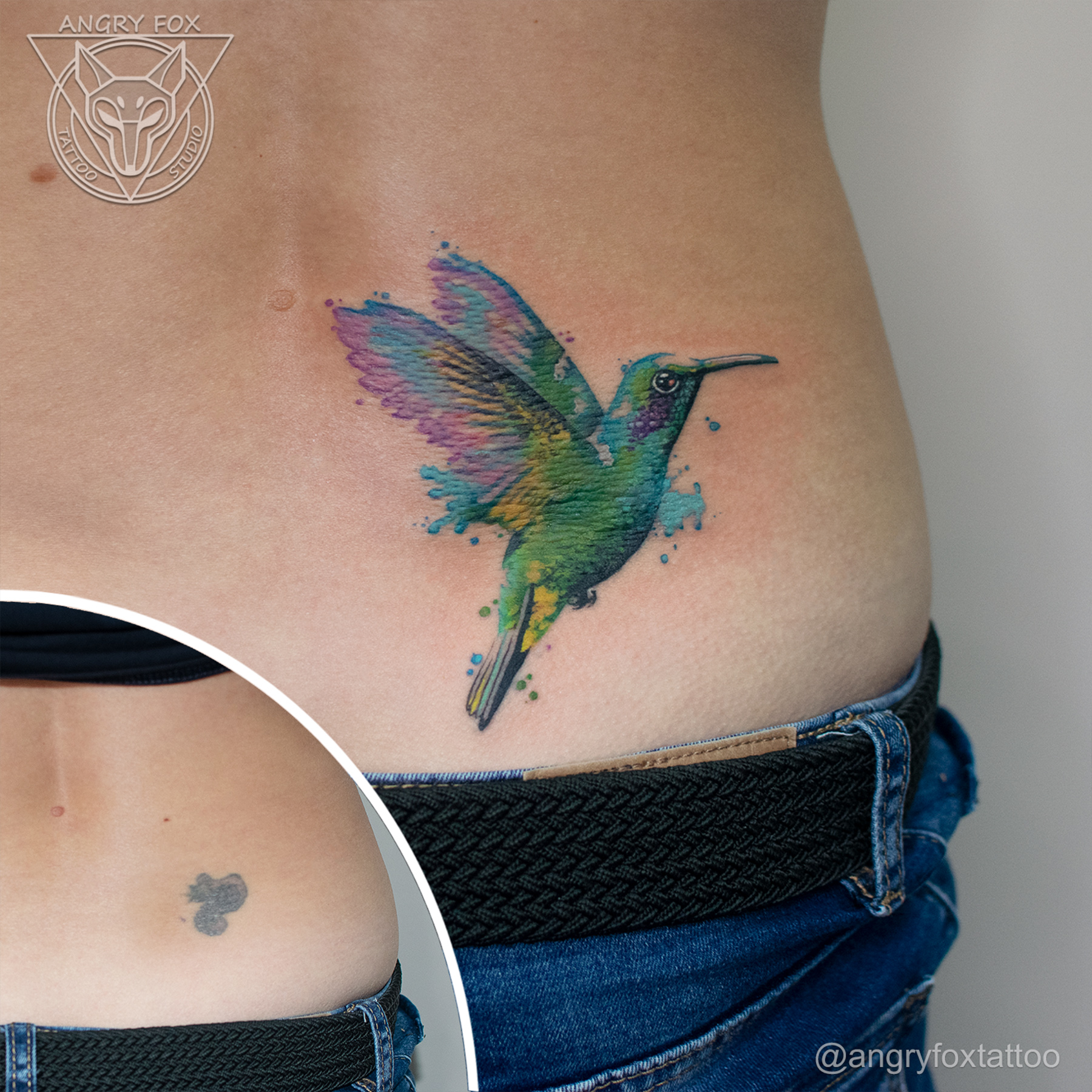 татуировка, тату, каверап, спина, поясница, акварель, колибри, птицы, перекрытие