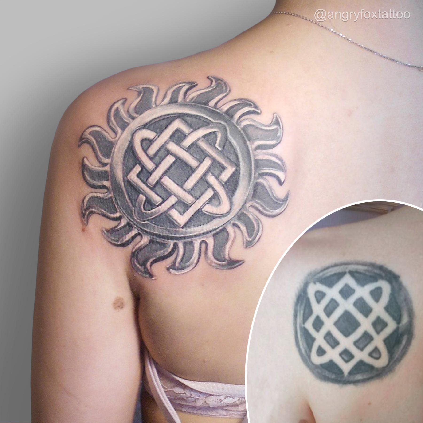 тату, татуировка, спина, плечо, лопатка, перекрытие, квадрат, два, овала, звезда, сварога, языческий, небесного, кузнеца, бог, оберег, сакральная, реализм