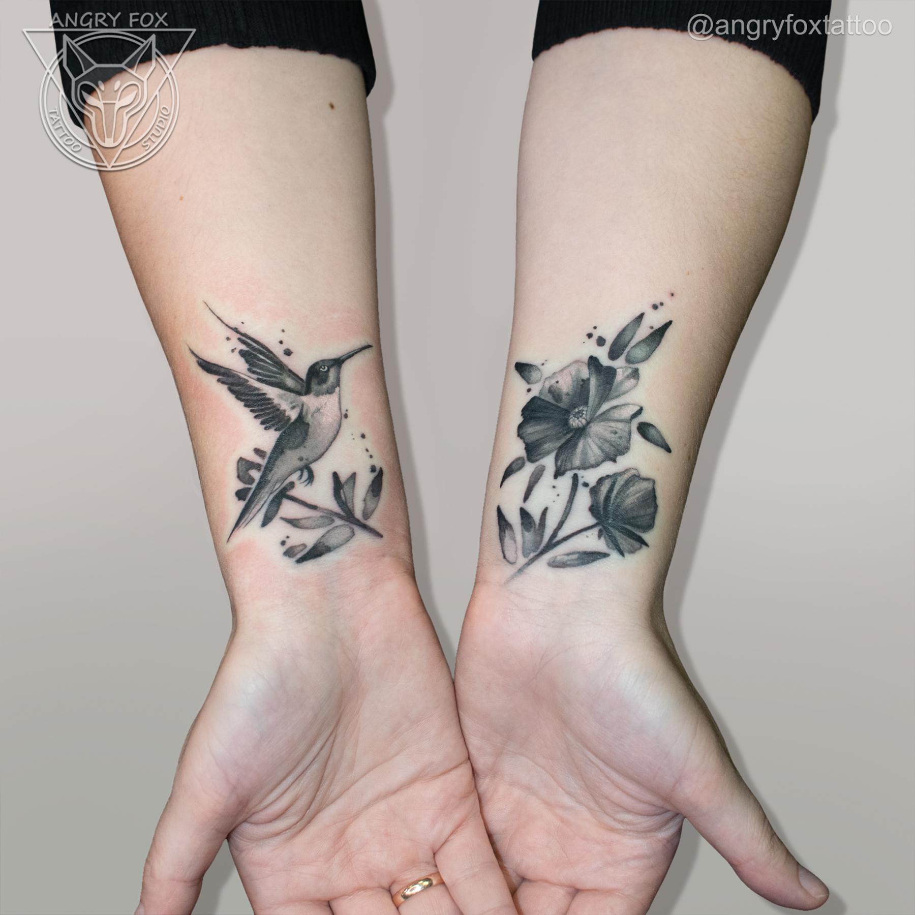татуировка, тату, каверап, рука, предплечье, запястье, акварель, колибри, птицы, перекрытие, тушь