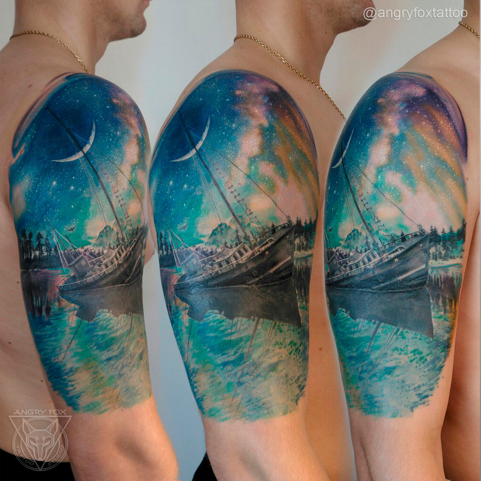 татуировка, тату, каверап, корабль, космос, луна, месяц, звёзды, лес, отражение, северное, сияние, океан, море, волны, песок, закат, рассвет, реализм, плечо, ночь, небо